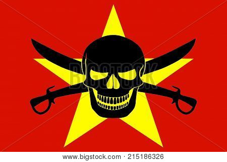 Pirate Flag Combined With Vietnamese Flag