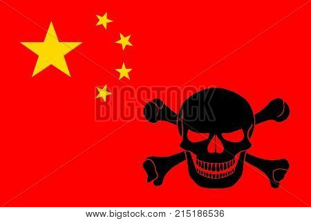 Pirate Flag Combined With Chinese Flag