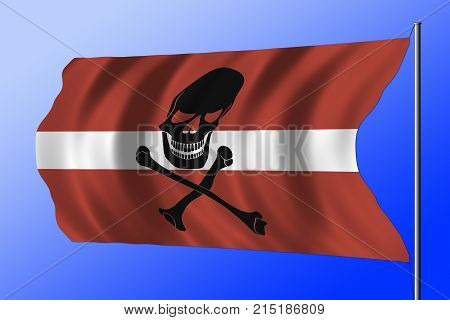 Waving Pirate Flag Combined With Latvian Flag
