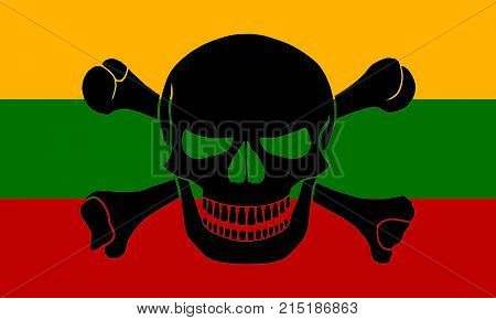 Pirate Flag Combined With Lithuanian Flag