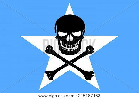 Somalian flag combined with the black pirate image of Jolly Roger with crossbones