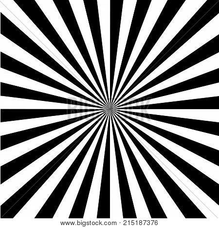Black and White Sun Rays, Beams Element, Sunburst Pattern, Starburst Shape on White Background. Radiating, Radial, Merging Lines, Abstract Circular Geometric Shape