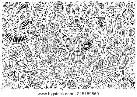 Line art vector hand drawn doodles cartoon set of disco music objects and elements