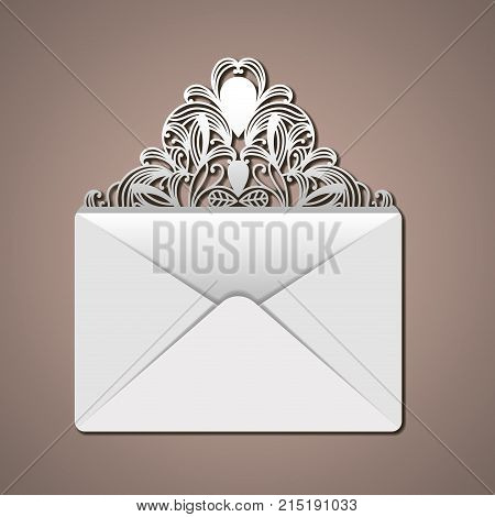 laser cutting in flap of envelope with decorative forms in thistle color background vector illustration