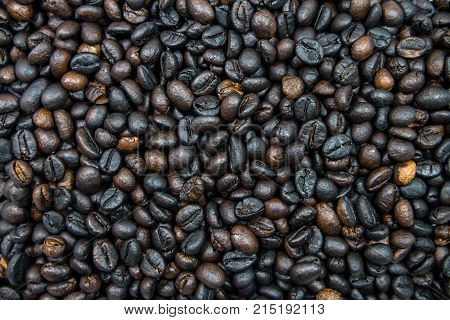 Many roasted coffee beans are ingredient of cappucino espresso mocha for awake in the morning.