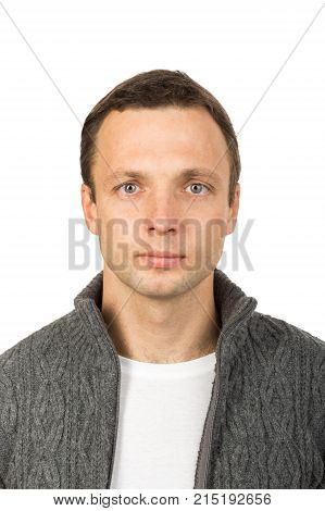Face Portrait Of Young Man Isolated On White