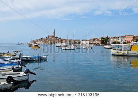 View of Rovinj and Boats from Sea