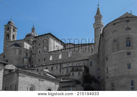 View of the Ducal Palace in Urbino Italy