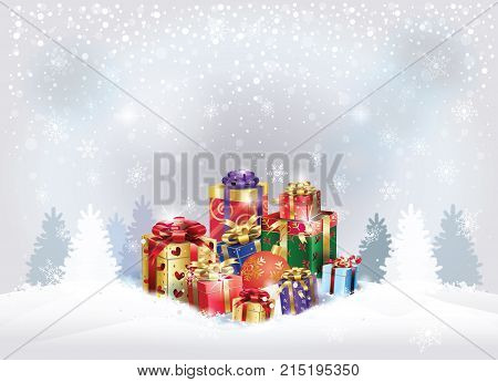 Boxing Day Sale poster. Gift Boxes with bow, satin ribbon, fir tree forest, snowy landscape, bokeh lights, defocused blurred snowflakes silver background template, presents for Christmas and New Year Winter Holiday