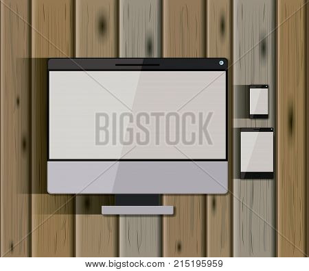stationary templates with tech devices desktop computer and tablet pc and mobile phone over wooden background vector illustration