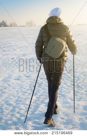 Nordic walking - adult man hiking alone with sticks in wintry countryside on snow