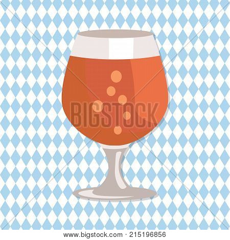 Snifter glass of beer in transparent glassware vector on checkered abstract background. Dark alcohol beverage, symbol of Oktoberfest in cartoon style