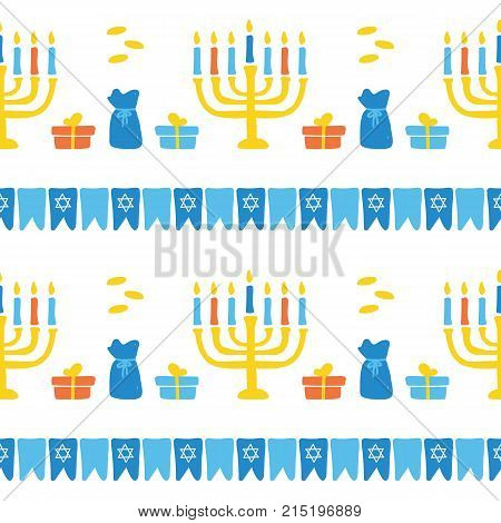 Cute doodle seamless pattern background with menorah, flags and gifts.