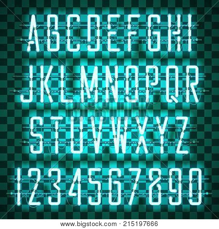 Glowing Blue Neon Casual Script Font with uppercase letters from A to Z and digits from 0 to 9 with wires, tubes, brackets and holders. Shining and glowing neon effect. Vector illustration.
