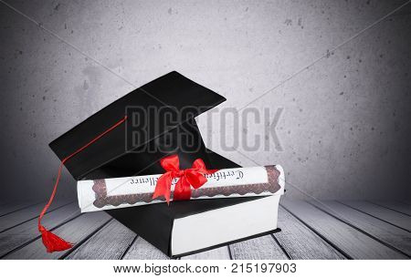 Hat book diploma graduation grad white background