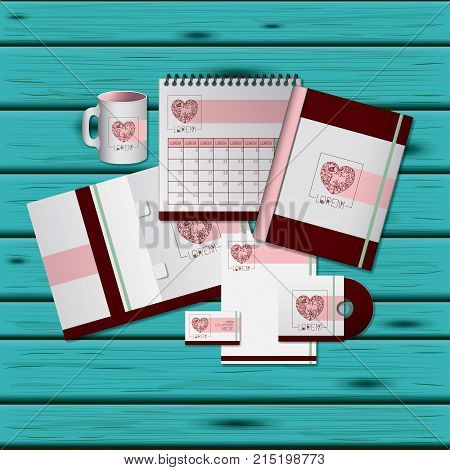 stationary templates of heart design of business stationery over aquamarine wooden background vector illustration