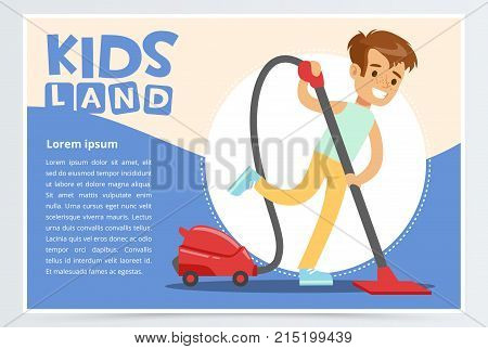 Blue card or poster with happy teenager boy cleaning the floor with vacuum cleaner. Kid doing home cleanup, household chores. Children helping parents. Colorful flat style cartoon vector illustration.