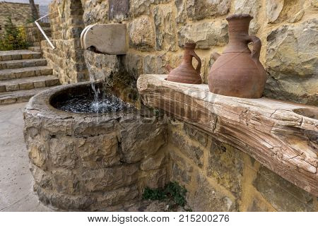 Spring holy water at an ancient Christian church in Lebanon