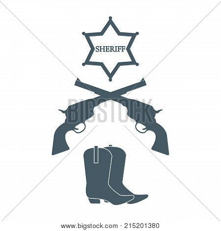 Illustration Of Sheriff Star, Revolvers Colt And Cowboy Boots. Wild West Collection.
