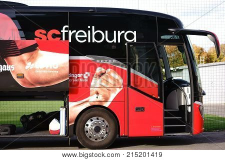 MAINZ, GERMANY - OCTOBER 25: The coat of arms of the football club SC Freiburg at the team bus at a game of the regional league on October 25, 2017 in Mainz.