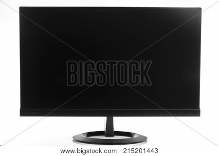 High-tech flatscreen computer display in landscape orientation isolated.