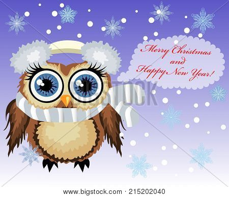 Pretty Cartoon Coquettish Owl Say Happy Merry Christmas and Happy New Year. Christmas card