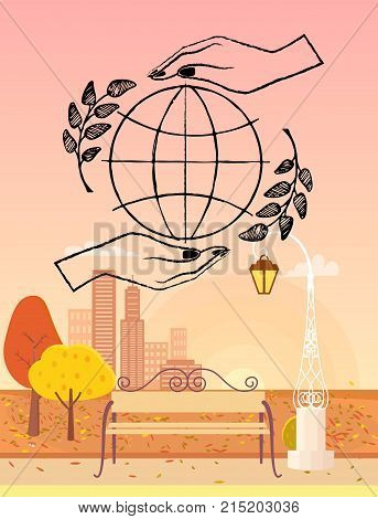 Planet surrounded by two hands and spikelets. Background of vector illustration is autumn town park with bench and streetlight