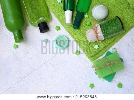 Lime Mint Composition Beauty Treatment Products In Green Colors: Shampoo, Soap, Bath Salt, Towel, Oi