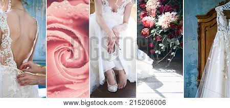 The bride prepares for the wedding a collage a hanging wedding dress a bride putting on her shoes fastens a dress