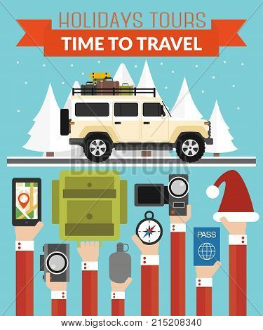 New Year Holidays Tours design flat with jeep.Vector illustration