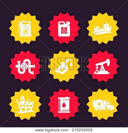 Petroleum industry icons set, gas station, gasoline, oil production platform, petrol canister, barrel, petroleum pipeline