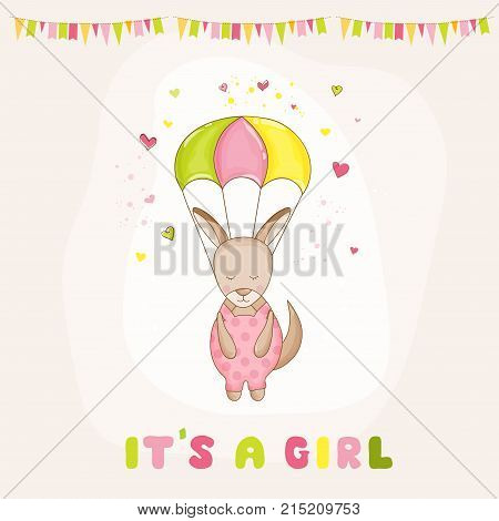Baby Shower or Arrival Card - Baby Girl Kangaroo Flying with a Parachute - in vector