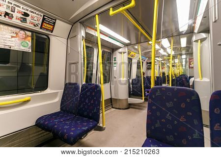 Stockholm, Sweden - 22Nd Of May, 2014.interior Of A Stockholm Metro Train. Stockholm, Sweden. The Se