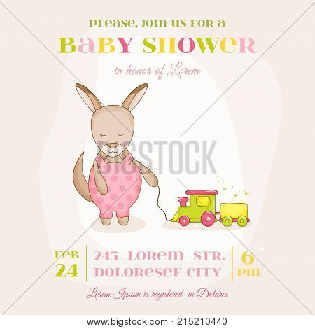 Baby Girl Kangaroo with a Train - Baby Shower or Arrival Card - in vector