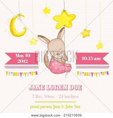 Baby Girl Kangaroo Sleeping on a Star - Baby Shower or Arrival Card - in vector