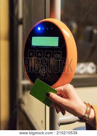Ticket validation system on modern public transport.
