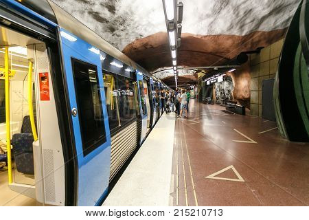 Stockholm, Sweden - 22Nd Of May, 2014.metro Station Radhuset In Stockholm. Collection Of Stockholm M