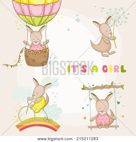 Baby Girl Kangaroo Set - for Baby Shower or Baby Arrival Cards - in vector