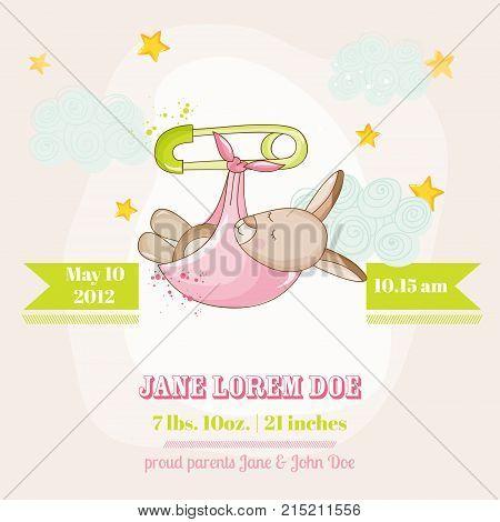 Baby Girl Kangaroo Sleeping - Baby Shower or Arrival Card - in vector