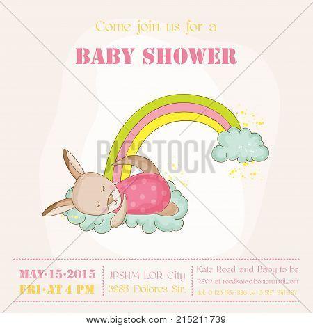 Baby Girl Kangaroo Sleeping on a Rainbow - Baby Shower or Arrival Card - in vector