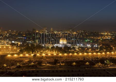 Beautiful Evening View Of Jerusalem From The Mount Of Olives