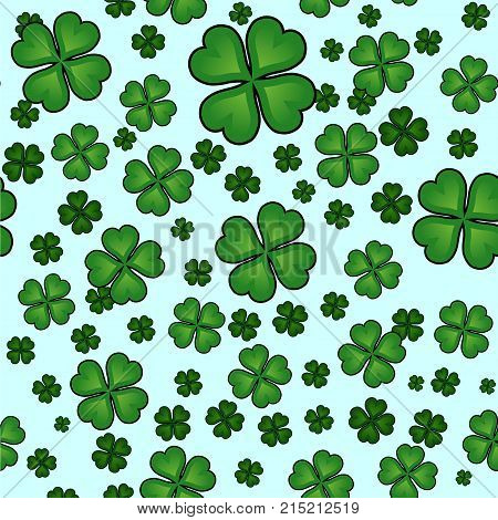 Abstract Seamless Clover Pattern For Girls, Boys, Clothes. Creative Vector Background With Green Clo