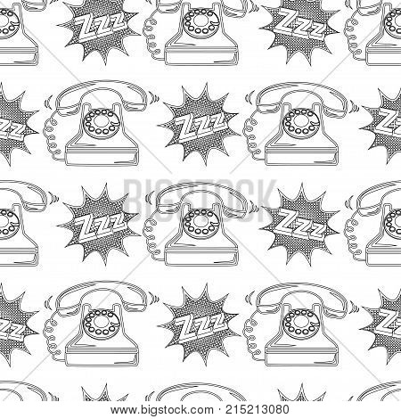 Abstract Seamless Telephone Pattern For Girls, Boys, Clothes. Creative Vector Telephone Background W