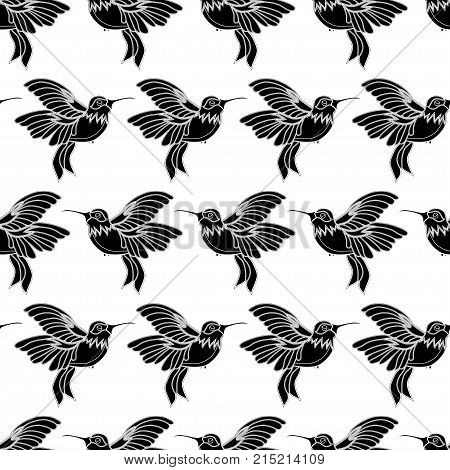 Abstract Seamless Hummingbird Pattern For Girls Or Boys. Creative Vector Background With Hummingbird
