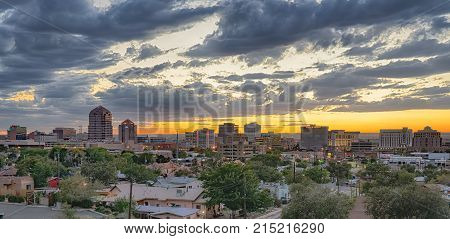 ALBUQUERQUE, NM - OCTOBER 12, 2017: Albuquerque New, Mexico Skyline at sunset