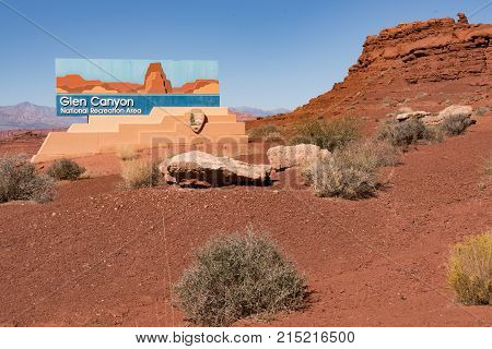 Sign at the entrance to Glen Canyon National Recreation Area and Lake Powell in Arizona