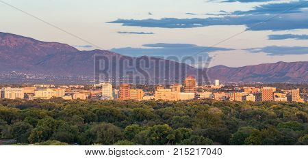 ALBUQUERQUE NM - OCTOBER 12, 2017: Albuquerque, New Mexico city skyline at sunset