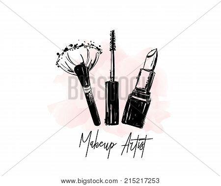 Makeup Artist Logo Banner. Business Card And Logo Concept. Beauty Set For Make-up: Lipstick, Mascara