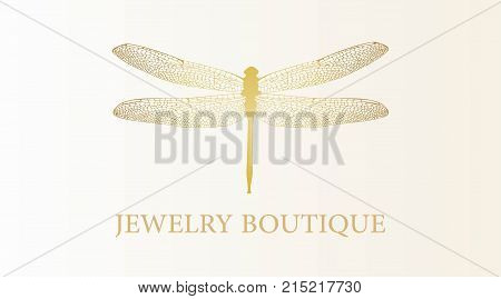 Vector Logotype For Jewelry Boutique, Store, Shop. Elegant Gold Dragonfly Silhouette At White Backgr