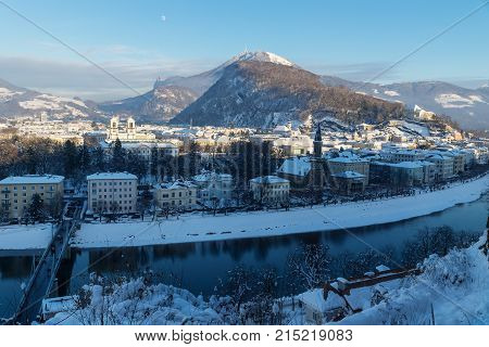 Panorama Salzburg With View On Kapuzinerberg And Salzach In Winter, Austria